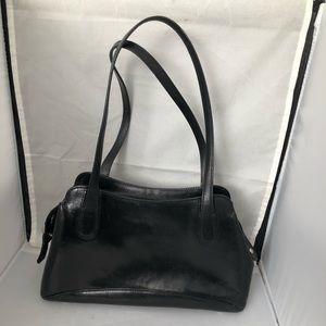 Monsac black leather shoulder bag